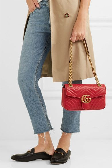 07b3825157a1af Gucci - Gg Marmont Small Quilted Leather Shoulder Bag - Red ...