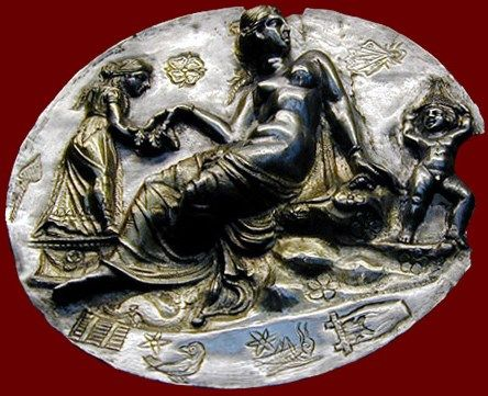 Aphrodite Silver Relief Medallion With Various Symbols Associated