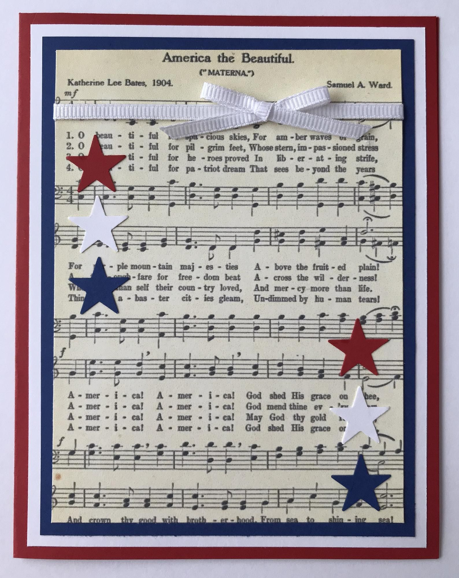 Handmade 4th Of July A2 Card America The Beautiful Red White