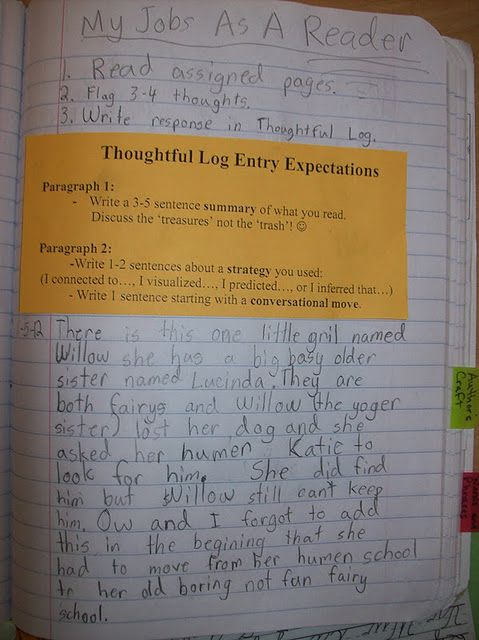 Thoughtful Log entry after Read To Self- gotta get ready for Grade!