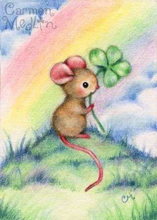Lucky Mouse Cute Animal Colored Pencil Art By Carmen