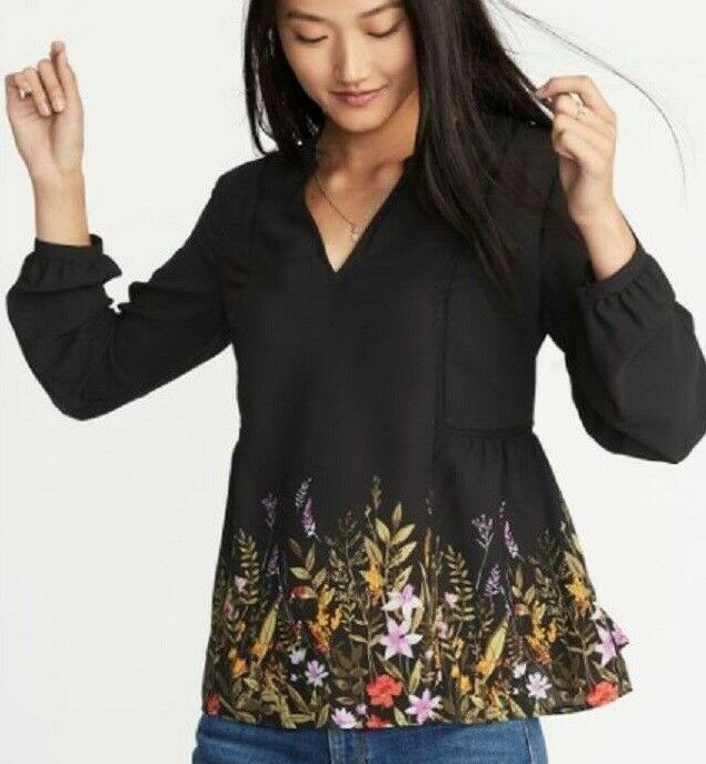 fadbc862fa2f40 OLD NAVY Women s Black Floral Print Georgette Swing Blouse Size S NEW   OldNavy  Blouse  floralblouse  georgetteblouse  oldnavyblouse