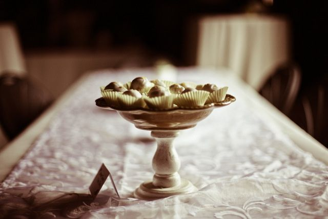 handmade cake stand and homemade truffles