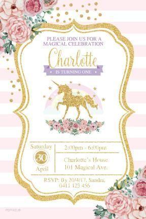 Unicorn Invitations Party Supplies Birthday