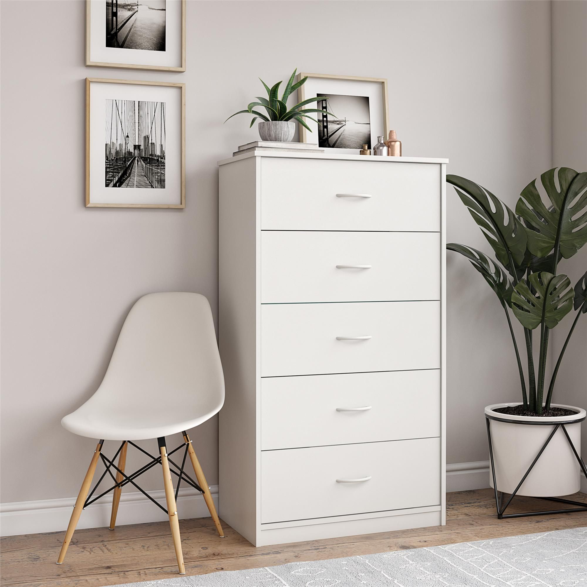 Mainstays Classic 5 Drawer Dresser White Finish Walmart Com In 2020 5 Drawer Dresser Clothes Cabinet Bedroom Dresser Drawers
