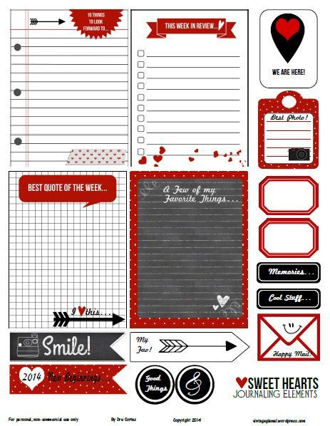 Free Printable Download  Sweethearts Journaling Elements is part of Project life, Project life printables, Journal cards, Pocket scrapbooking, Printables, Project life cards - Free journaling elements printable pdf that includes pocket cards and elements for your pocket scrapbooking projects  Free for personal use only