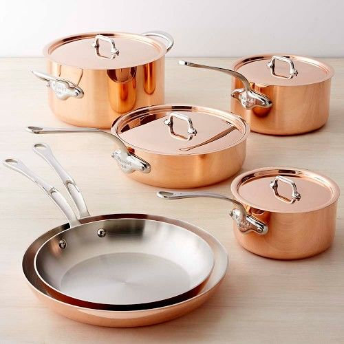 Mauviel Copper Triply 10-Piece Cookware Set | Williams Sonoma - Cookware Sets - Cookware Collections - Pots & Pans - Skillets - Cookware