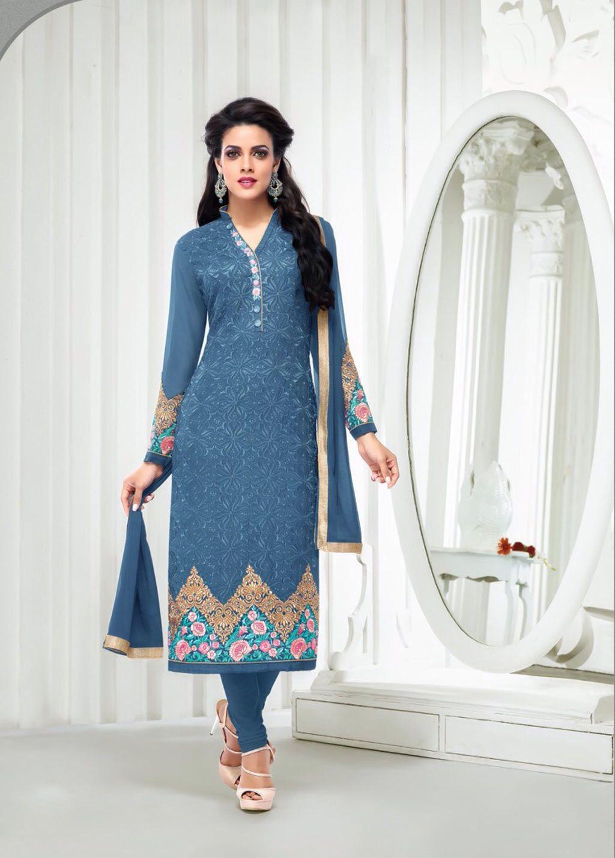 Blue Georgette Churidar Suit 62968