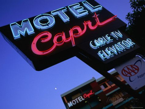 'Motel Neon Sign, Act, Union Square, San Francisco, California' Photographic Print - Ray Laskowitz | AllPosters.com