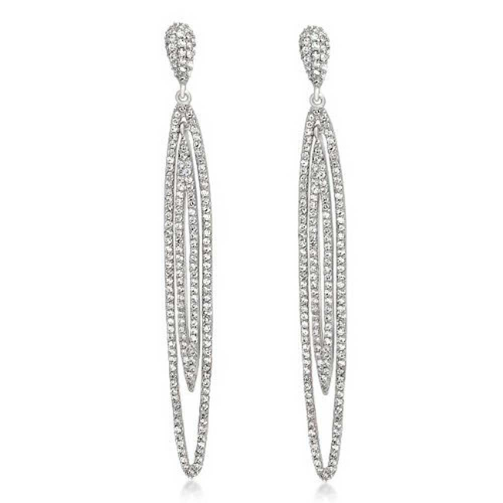 Modern Double Long Oval Dangle Earrings Pave Cz Silver Tone