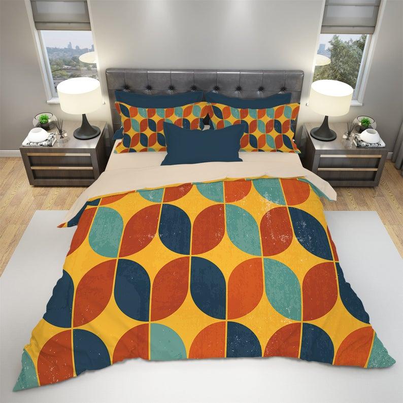 Retro Duvet Cover Retro Bedding Set Vintage Bedding Modern Geometry Bedding Colorful Bedding Mid Century Bedding Retro Bed Colorful Bedding Vintage Bed