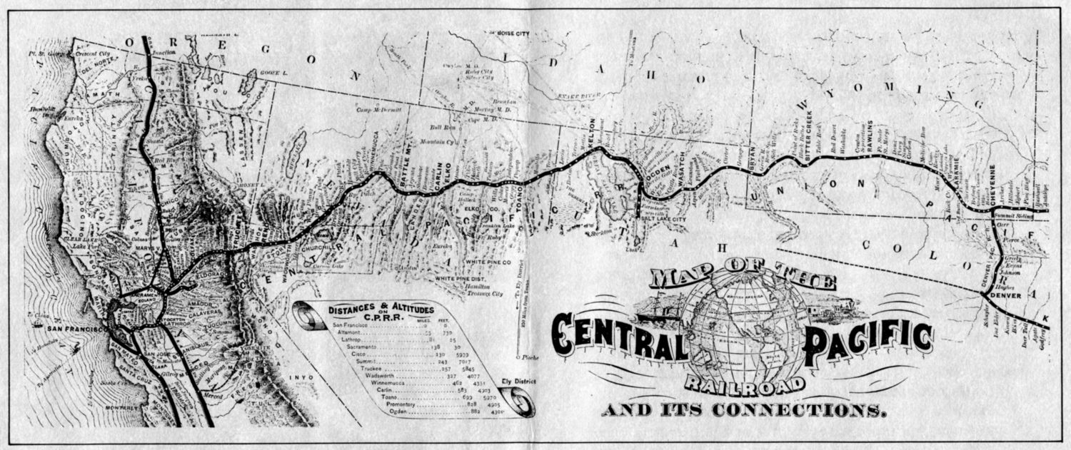 Map Of Central Pacific Railroad Pin by Mara Johnson on Montessori EII Social Studies | Central