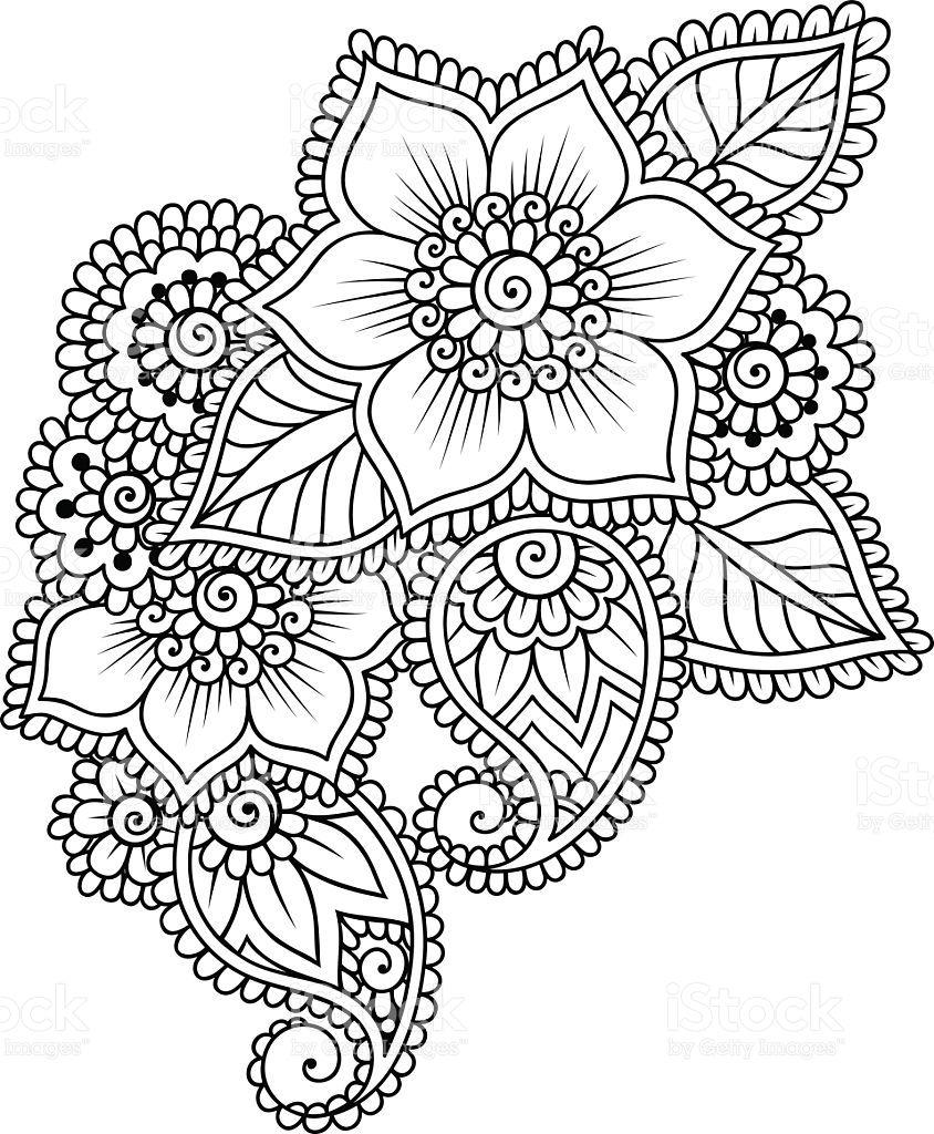 Doodle Vector Illustration Design Element. Flower Ornament. Art Coloring Pages Mehndi