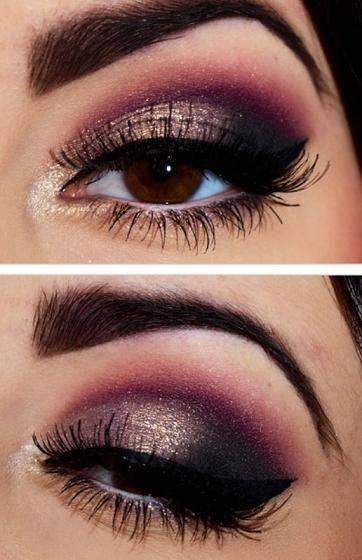Maquillage des yeux pour les fêtes prune, noir et beige doré