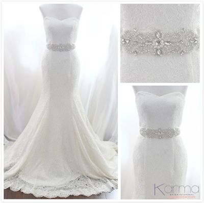 This Gorgeous hand made rhinestone belt is sure to make any gown an A+ on your big day . - Karmabridal.com