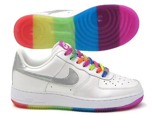Nike Air Force 1 Premium High Womens Shoes in White/Rainbow