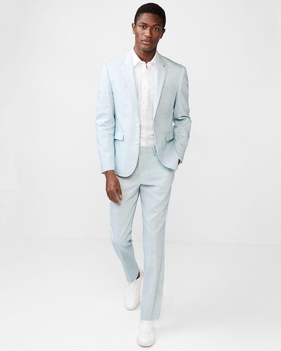 Extra slim light blue stretch linenwool suit pant