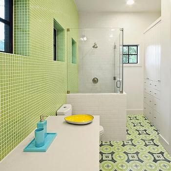 Decorating Kids Bathroom Can Be Very Fun Every Corner Of The Bathroom Is About Fun It S The Place Wh Green Bathroom Green Bathroom Colors Green Tile Bathroom