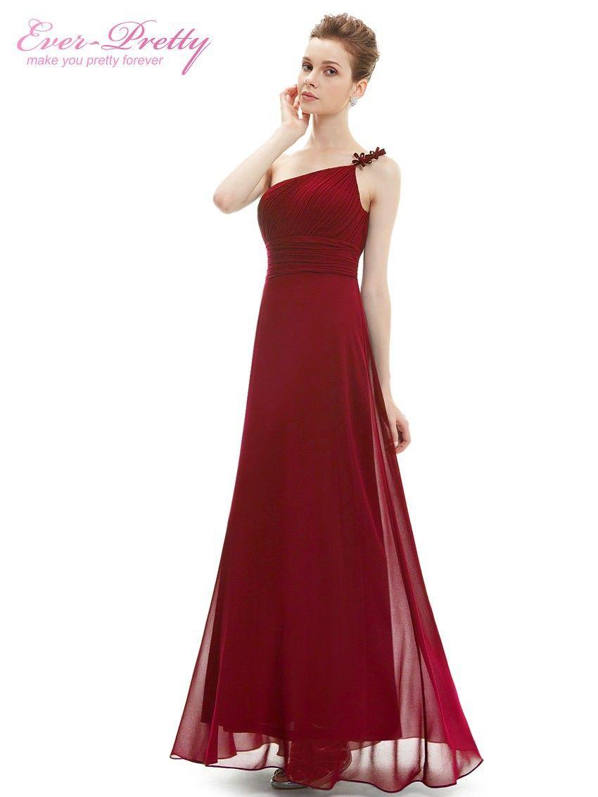 Aliexpress.com: Compre Vestido de Noite sempre Muito HE09596 hum Ombro Longo flor Ruffles Chiffon vestidos de Noite Formal de Confiança vestido de quadril fornecedores em Ever Loja bonita