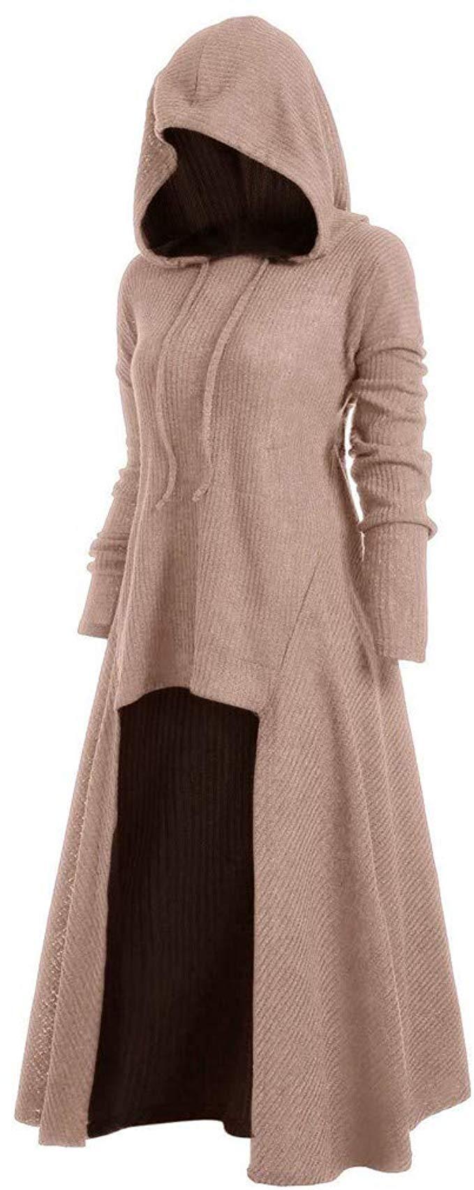 Women Hooded Sweatshirt Dress Long Sleeve Medieval Vintage Lace Up High Low Cloak Robe Xxxl Pink At Amazon Hooded Sweatshirt Dress Sweatshirt Dress Fashion [ 1703 x 679 Pixel ]