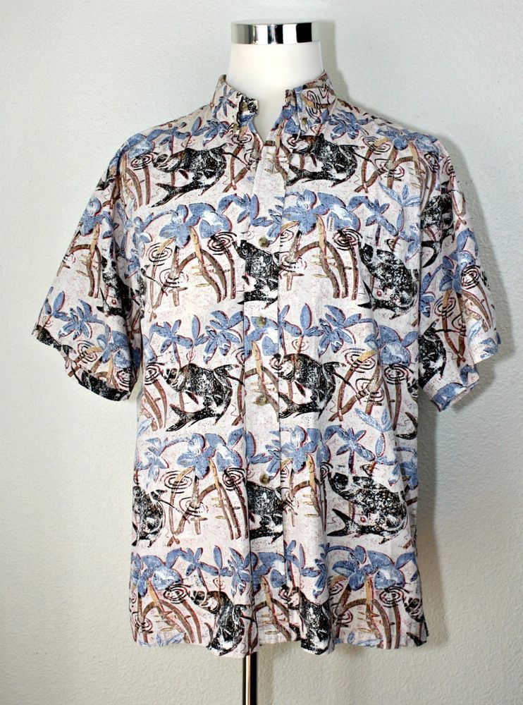 ff5640be9 KAHALA Hawaiian Casual Shirt Pond / Fishes / Plants ~ Cotton ~ Button Front  ~ L #Kahala #ButtonFront #CasualResortCruiseVacationGardenParty