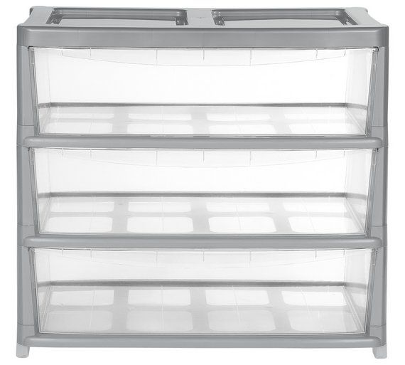 Buy Home  Drawer Gloss Plastic Wide Tower Storage Unit Silver At Argos Co