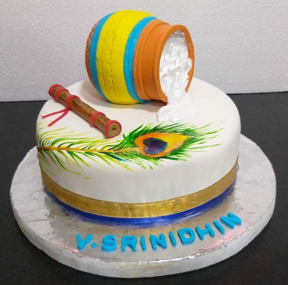 Little Krishna Themed Birthday Cake Classy 21st Birthday Cake Krishna Birthday Birthday Party Cake