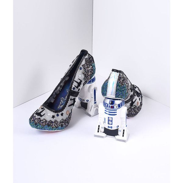 Irregular Choice Multi Glitter Battle With Artoo Star Wars Heels Shoes ($225) ❤ liked on Polyvore featuring shoes, blue, glitter shoes, irregular choice shoes, irregular choice and irregular choice footwear