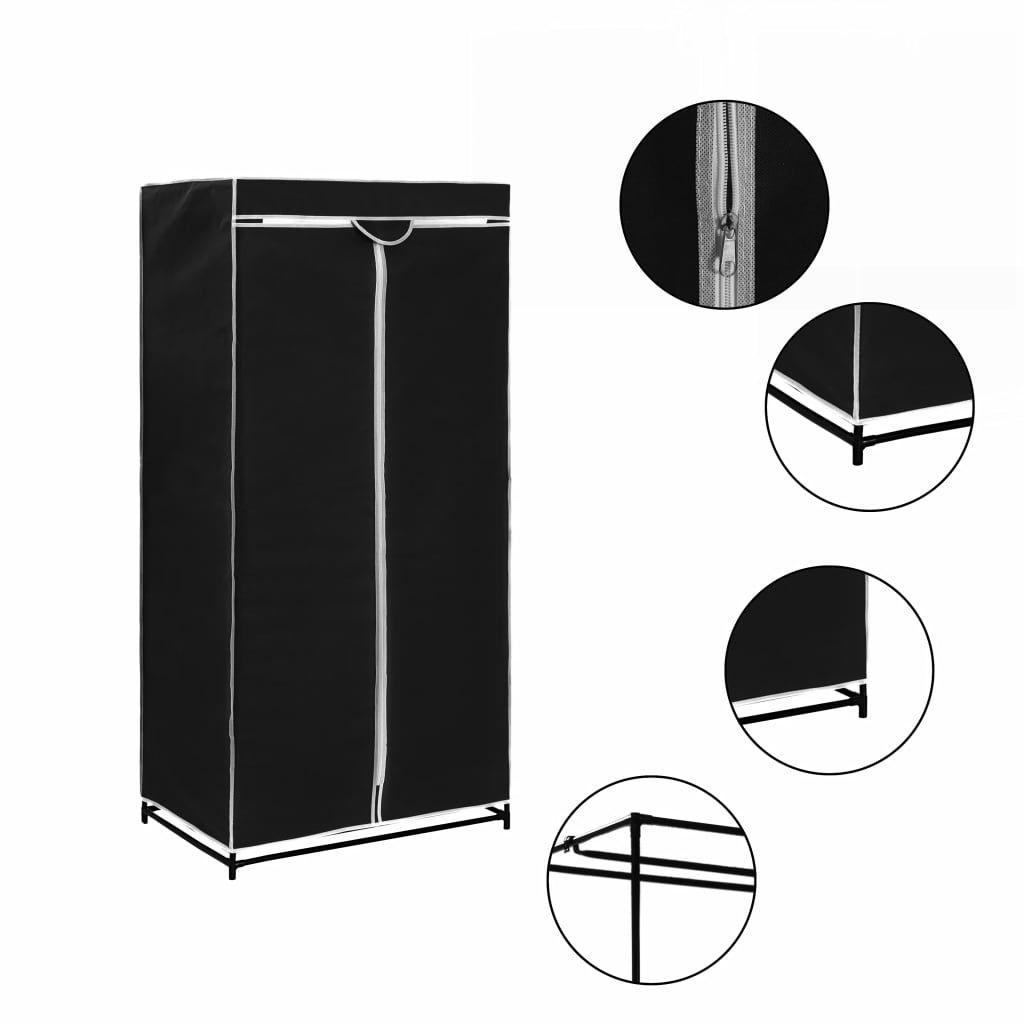 vidaXL Wardrobe Black 75x50x160 cm