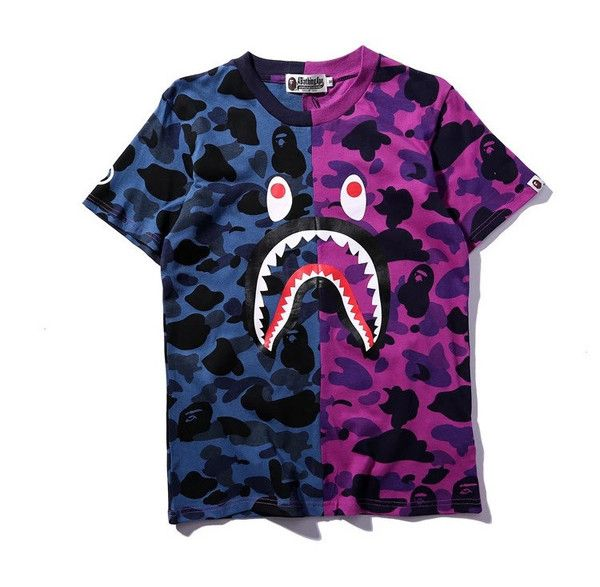 043f52d11 BAPE 1/2 Camo Shirt Material: 100% Cotton and sewn together in the middle  with the classic BAPE shark head on the front and WGM on the back. O-Neck
