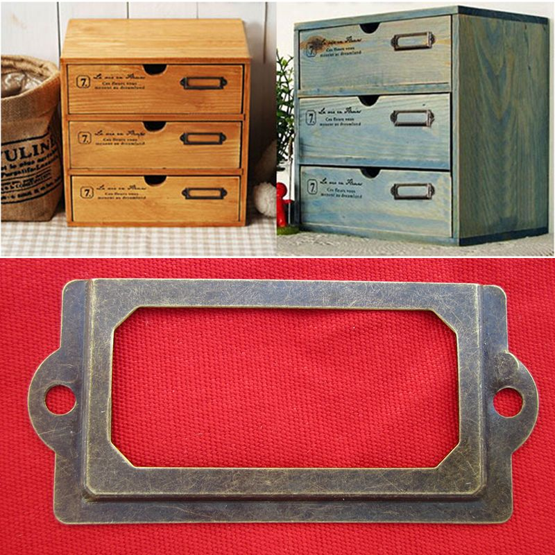 12x Antique Brass Drawer Label Pull Frame Handle File Name Card Holder With Screws For Hardware Tools Metal Drawers Drawer Labels Name Card Holder