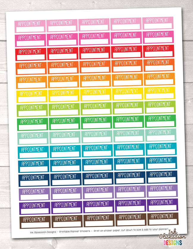 Appointment Boxes Printable Planner Stickers – Instant Download PDF for your Erin Condren Life Planner