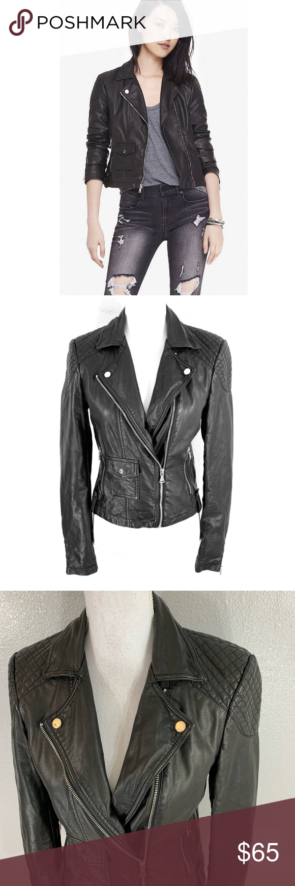 Express Faux Leather Quilted Shoulder Moto Jacket Express Black Faux Leather Quilted Shoulder Moto Jacket Zipper Pockets And Jackets Black Leather Moto Jacket [ 1740 x 580 Pixel ]