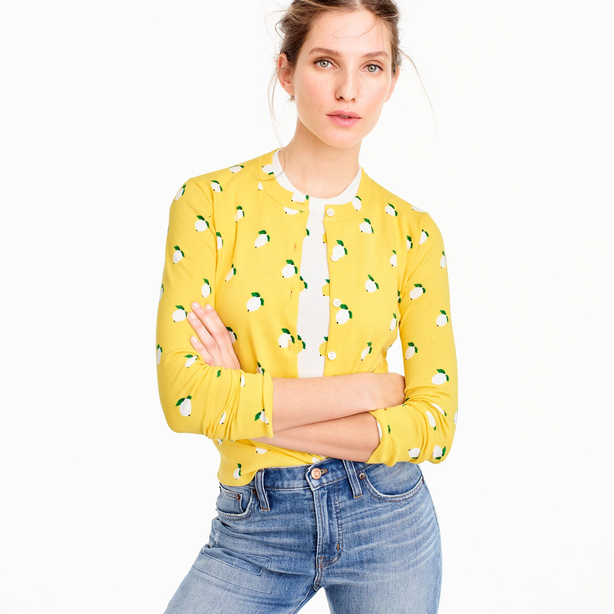 464687e4b6 Cotton Jackie cardigan sweater in lemon print : Women Cardigans & Shells | J .Crew