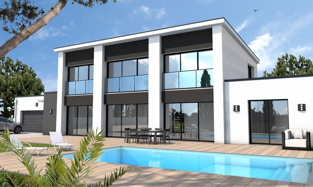 Maison A L Architecture Moderne Au Toit Plat Ultra Lumineuse Grace A Ses Nombreuses Grand Construction Maison Moderne Maison Moderne Constructeur Maison Bois
