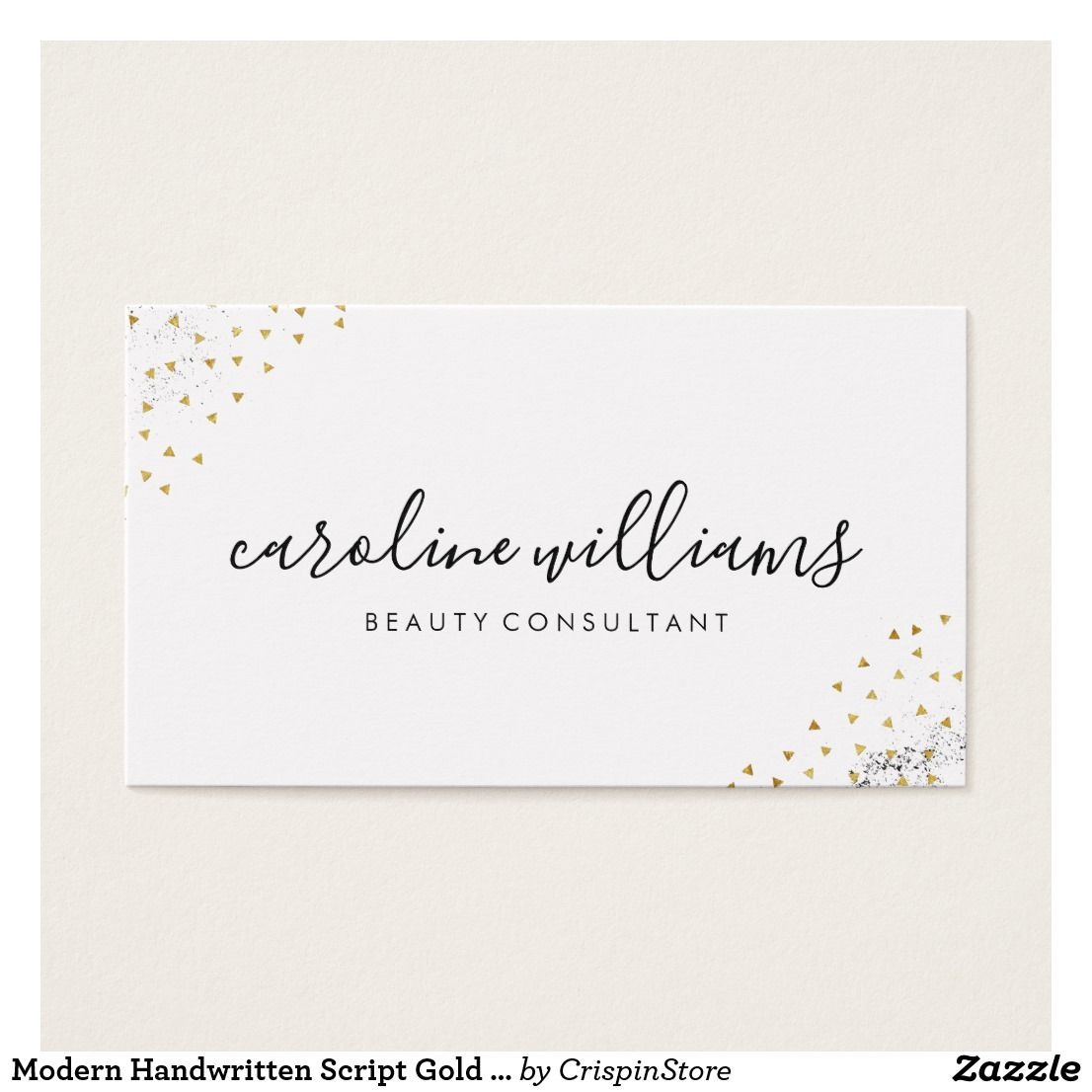 Modern Handwritten Script Gold Confetti Business Card | Gold ...
