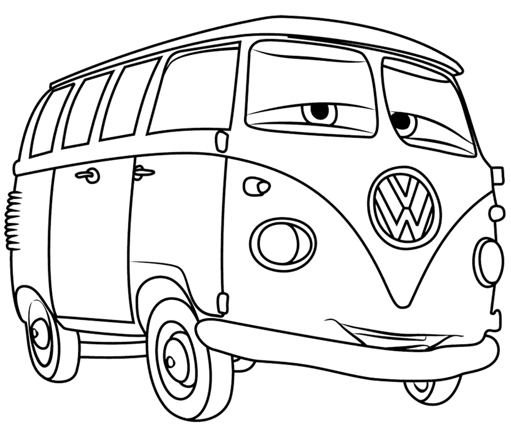 Cartoon Hippie Bus VW Coloring Page in 2020 Cars