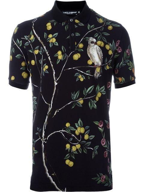 07408b43 DOLCE & GABBANA Lemon And Bird Print Polo Shirt. #dolcegabbana #cloth #shirt