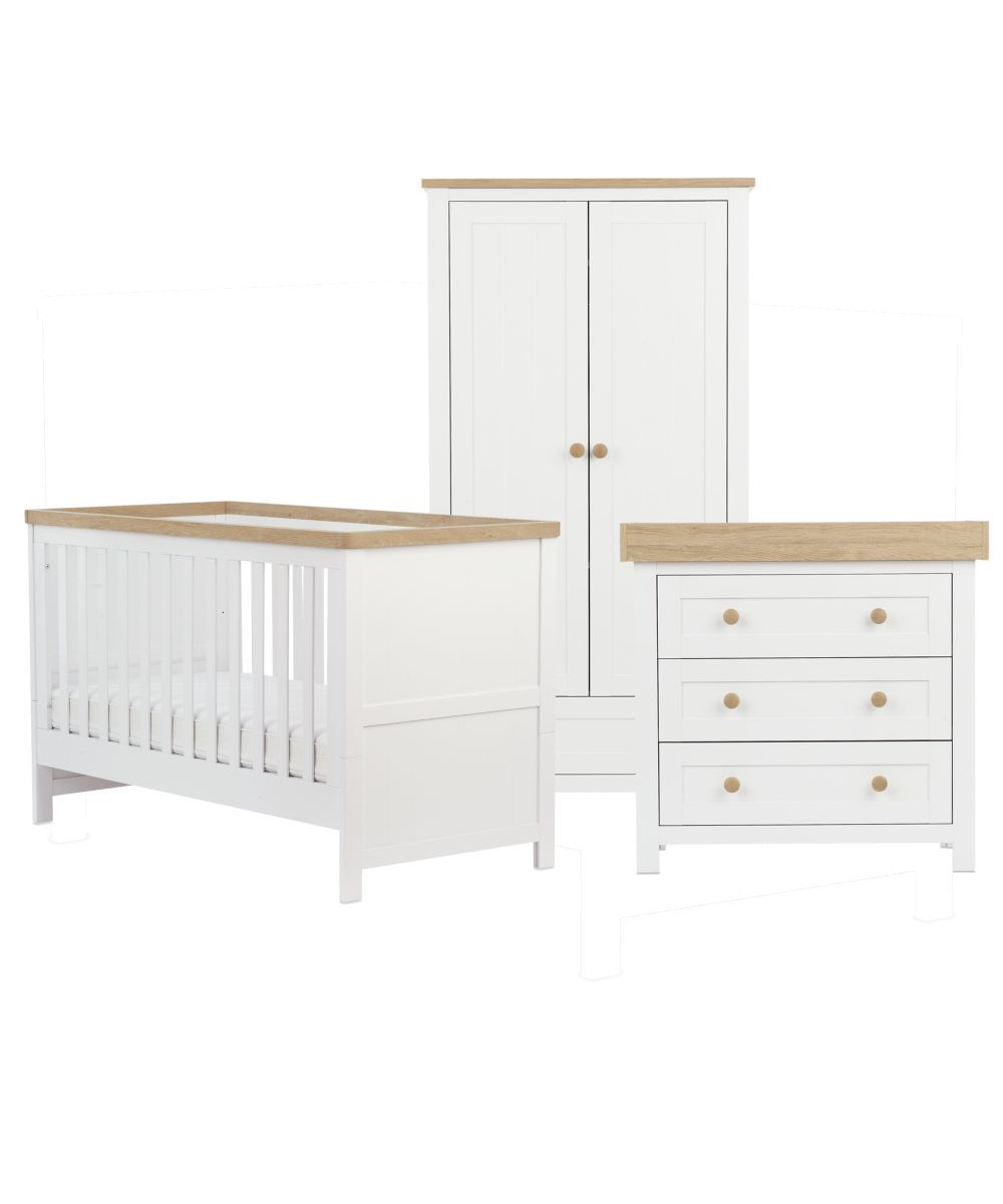 Mothercare Lulworth 3 Piece Nursery Furniture Set White Baby Room Decor