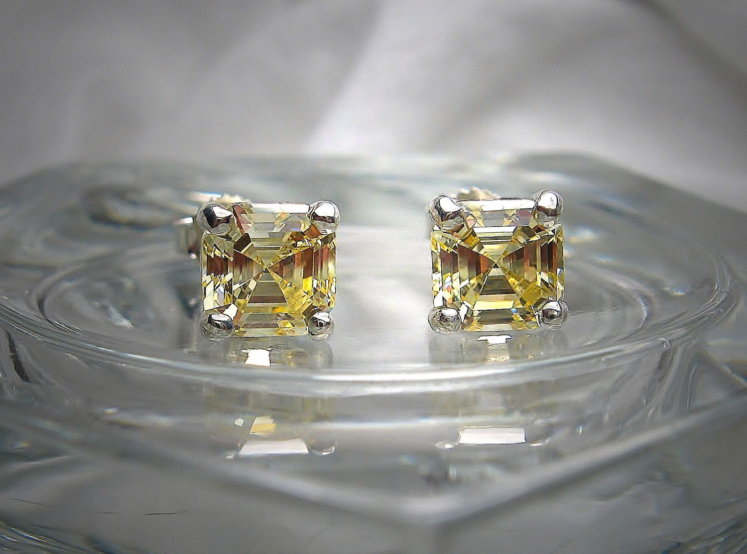 High Quality Canary 6mm Asscher Cut Cubic Zirconia Sterling Silver Stud  Earrings By Shantasticjewelry On Etsy