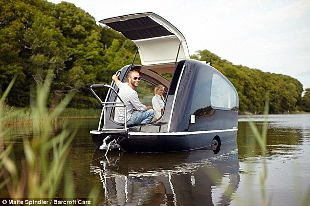 The brainchild of German designer Daniel Straub, it's a craft for those who like living life in the slow lane, with the 380kg vehicle cruising at speeds of only up to 5.6mph on water