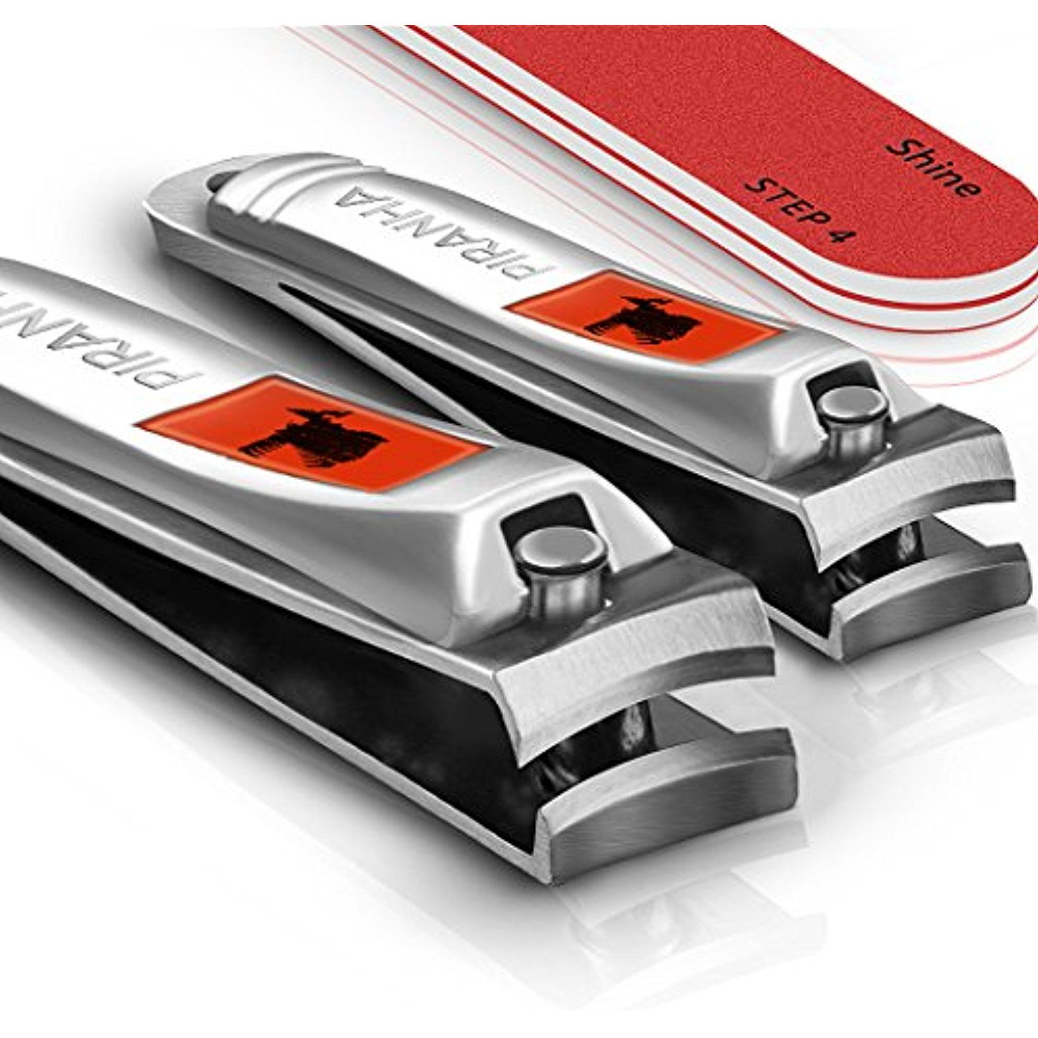 Sensible Needs Piranha Nail Clippers Set With Buffer Fingernail And Toenail Cutters Manicure