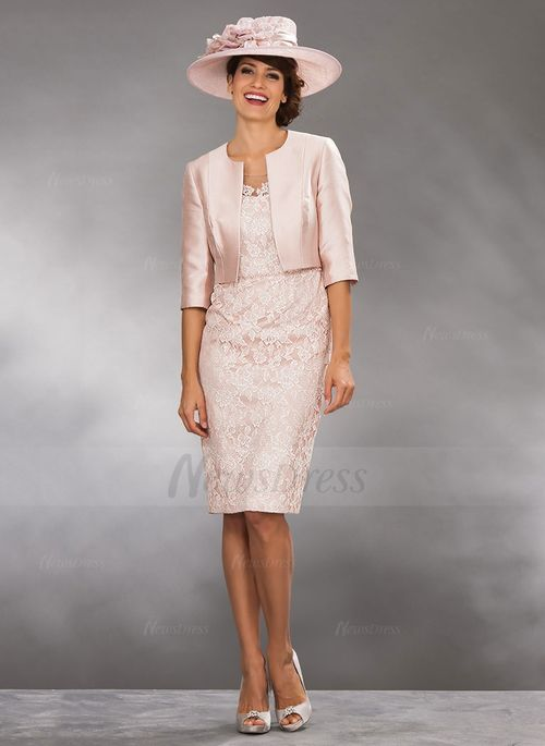 9ed5e6f211 Sheath Column Scoop Neck Knee-Length Lace Satin Lace Zipper Up Sleeves 1 2  Sleeves Yes Ivory Pearl Pink Spring Summer Fall General Mother of the Bride  Dress