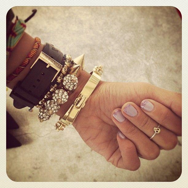 Swarovski watch   Anarchy Street skull bracelet   Studded spike bracelet   Yochi designs zipper bracelet  Michelle Chang skull ring