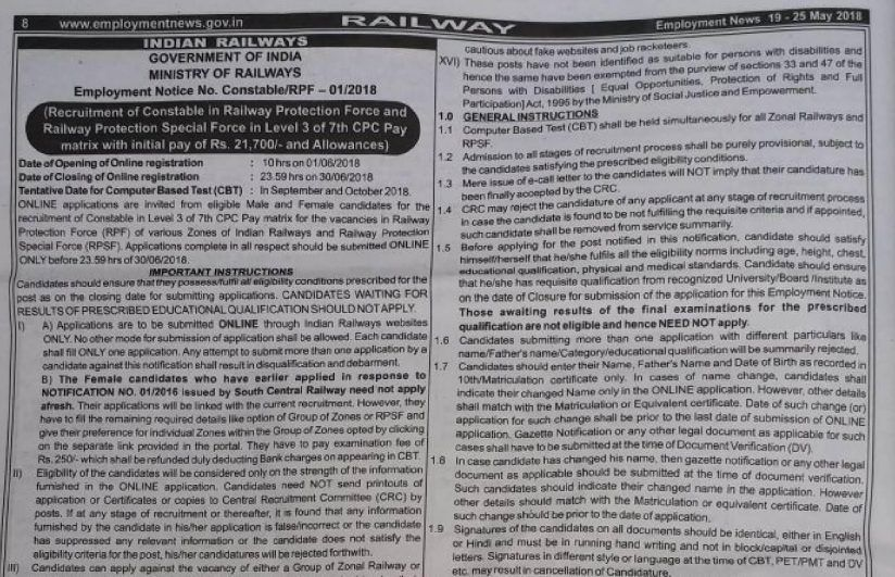 Railway Protection Force (RPF 2018 Recruitment