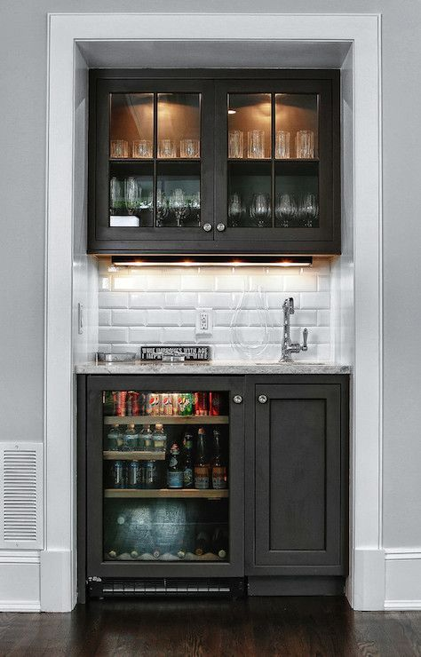 Media Room Snack Bar Ideas Glass Faced Cabinets White Subway Tile Backsplash Bar Sink Small Bars For Home Home Bar Designs Bars For Home