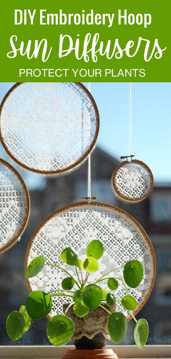 DIY Embroidery Hoop Window Sun Diffuser -   7 plants Bathroom windowsill ideas