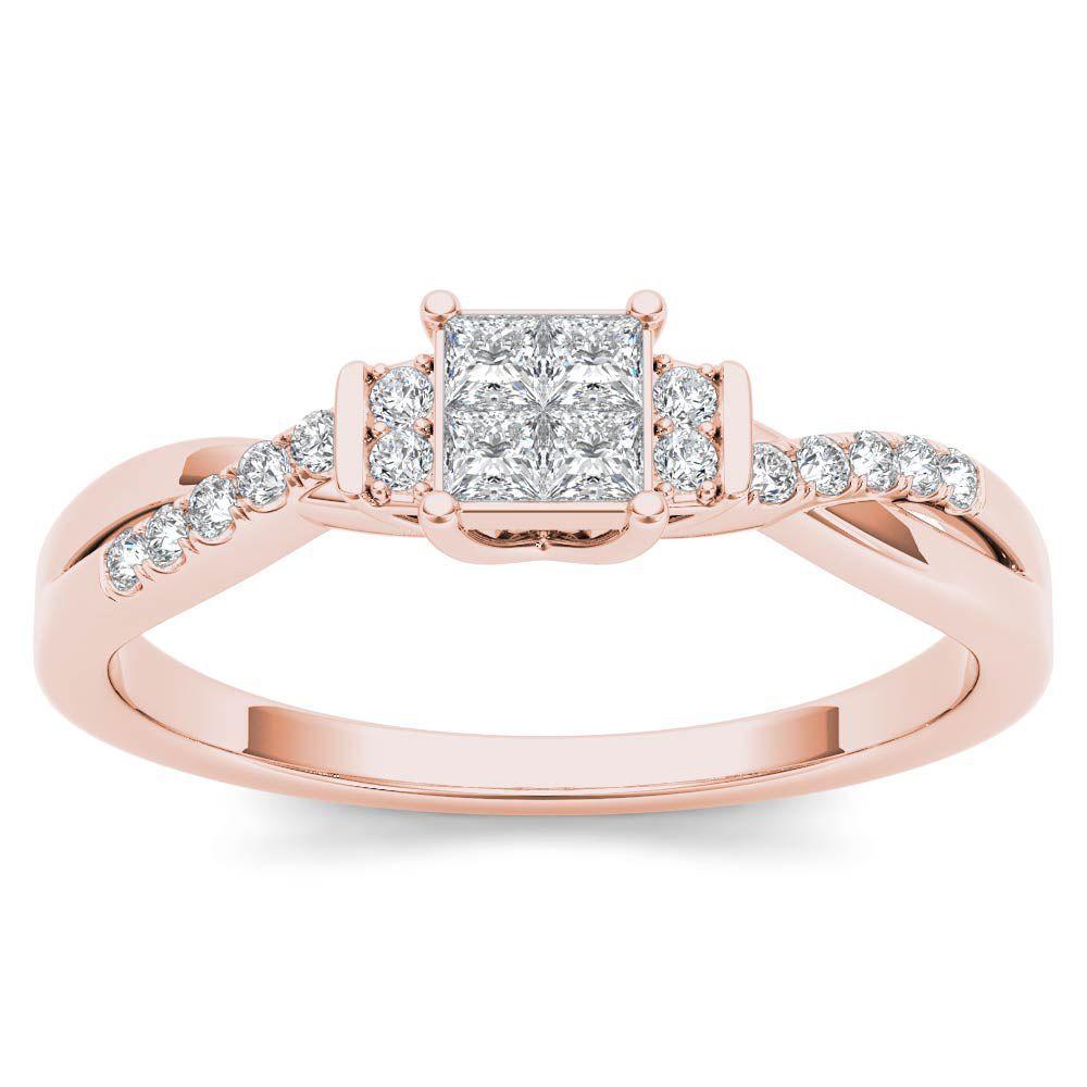 De Couer IGI Certified 10k Rose Gold 1/4ct TDW Diamond