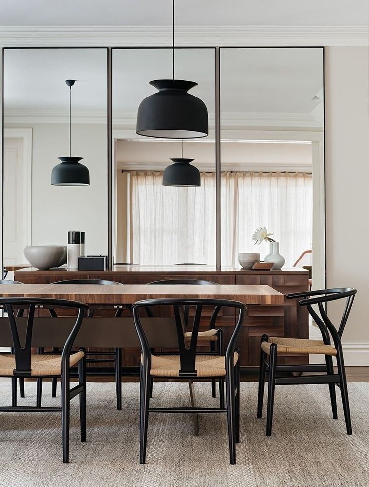 Pin By Mouna Ben Tanfous On Table Mirror Dining Room Dining Room Wall Decor Minimalist Dining Room