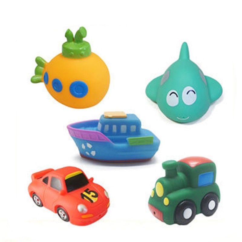 5Pcs Baby Toddler Vehicle Model Floating Squeaky Sqeeze Bath Toys Water Play QP